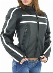Women's Soft Leather Motorcycle Jacket Cream Colored Stripes