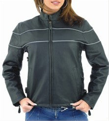 Women's Leather Motorcycle Jacket with Reflective Stripes