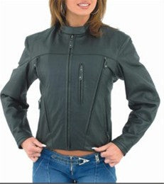 Women's Soft Leather Motorcycle Jacket with Front and Back Vents