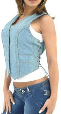 Ladies Genuine Blue Leather Vest with Denim Look & Side Laces