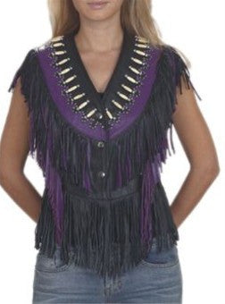 Ladies Black/Purple Leather Top with Beads, Bone, Braids and Fringes