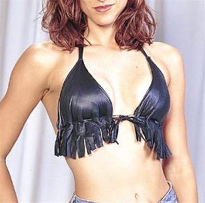 Ladies Leather Halter Bra with Beads and Fringes