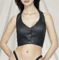 Ladies Leather Halter Top with Snap Front, 2 Elastic Straps on Back