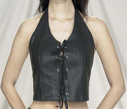 Ladies Leather Halter top with Lace up Front
