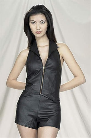 Ladies Leather Halter with Collar Zippered Front and Gathered Back