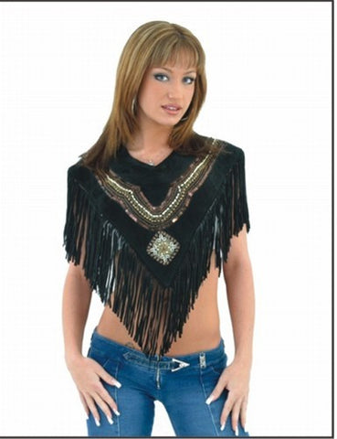 Ladies Poncho with Beads & Fringes
