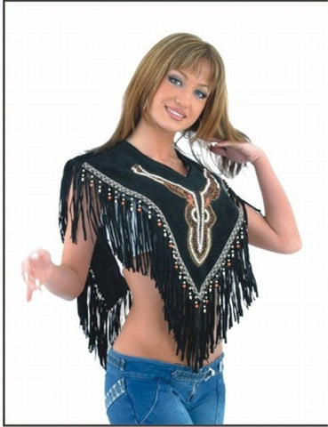 Ladies Black Decorative Poncho with Beads & Fringes
