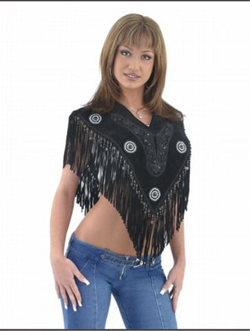 Ladies Black Poncho with Beads & Fringes