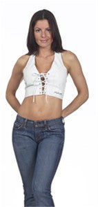Ladies White Leather Halter with Laces in the Front