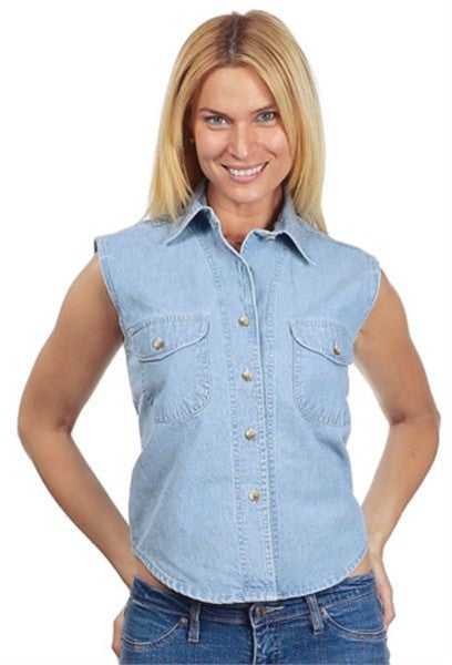Ladies Light Blue Denim Sleeveless Shirt