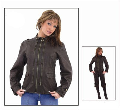 Ladies Brown Buttery Soft Leather Jacket with Studs on Front and Back