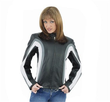 Ladies Leather Motorcycle Jacket with Gray and White Stripes