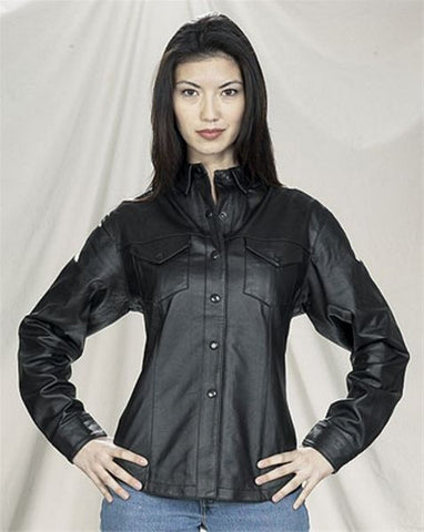 Ladies Black Soft Leather Shirt with Snaps and Lining