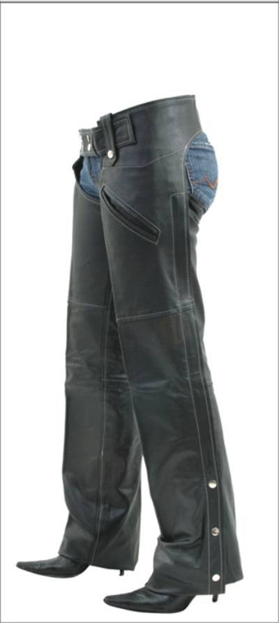 Ladies Medium Weight Leather Cowhide Motorcycle Chaps