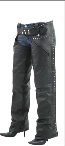 Ladies Medium Weight Cowhide Chaps With Studded Sides