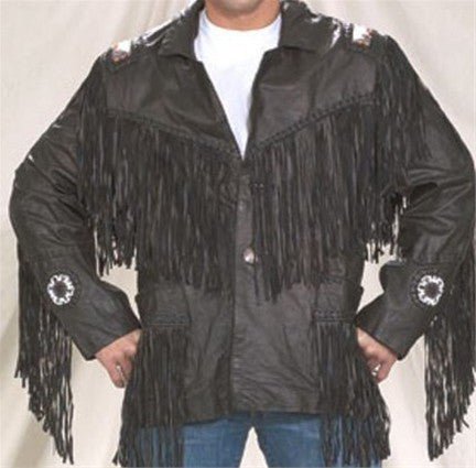 Mens Leather Western Style Jacket with Beads & Fringes