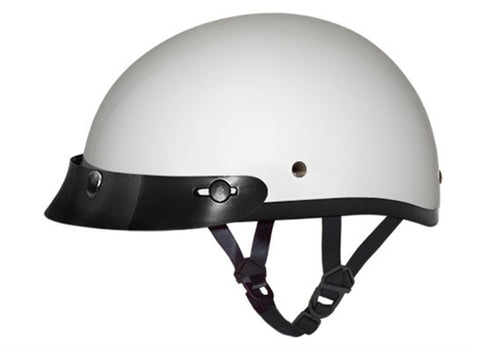 Daytona D.O.T Skull Cap Motorcycle Helmet Hi Gloss White with Visor