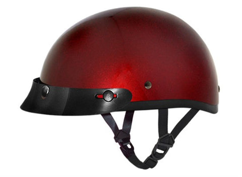 Daytona D.O.T Skull Cap Motorcycle Helmet Black Cherry Red