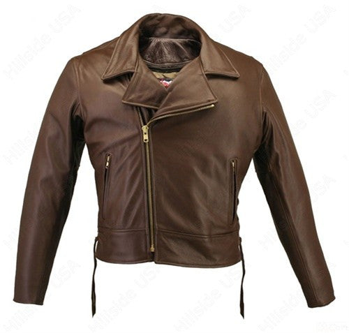 Mens Made in USA Brown 1.6-1.8 mm Thick Naked Leather Motorcycle Jacket