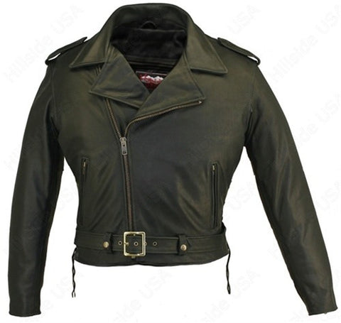 Mens Made in USA Classic Black 1.6-1.8 mm Naked Leather Belted Motorcycle Jacket