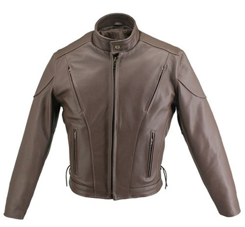 Men's Made in USA Classic Brown Naked Leather Vented Motorcycle Jacket with Gun Pockets