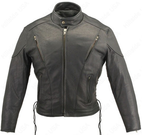 Men's Made in USA Classic Naked Leather Vented Motorcycle Jacket Gun Concealment Pockets