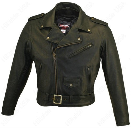 Men's Made in USA Classic Style Black Naked Leather Motorcycle Jacket Gun Pockets