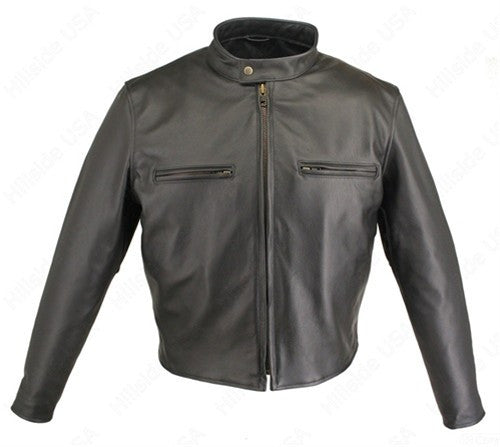 Men's Made in USA Cafe Racer Black or Brown Naked Leather Motorcycle Jacket