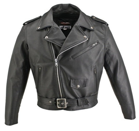 Men's Made in USA Classic Style Horse Hide Leather Motorcycle Jacket