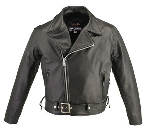 Men's Made in USA Classic Black Horsehide Leather Belted Motorcycle Jacket