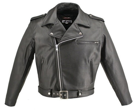 Men's Made in USA Front Quarter Horsehide Motorcycle Jacket with Leather Lined Gun Pockets