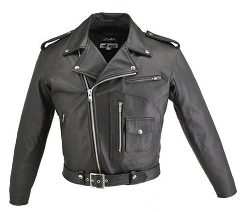 Men's Made in USA Black D Pocket Horsehide Leather Motorcycle Jacket Gun Pockets