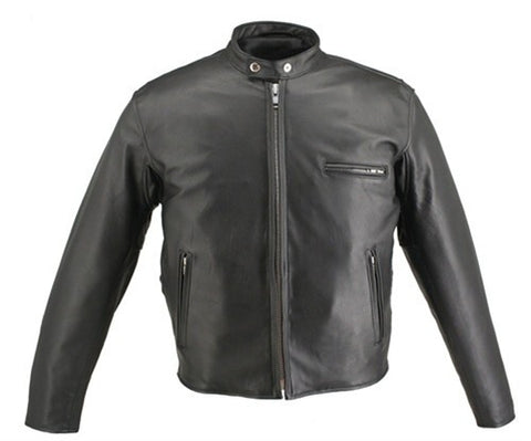 Men's Made in USA Cafe Racer Horsehide Leather Motorcycle Jacket Black or Brown