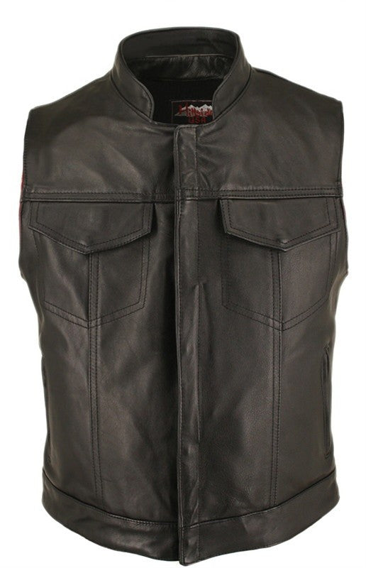 Men's Made in USA Horsehide Leather Motorcycle Vest with Hidden Snaps