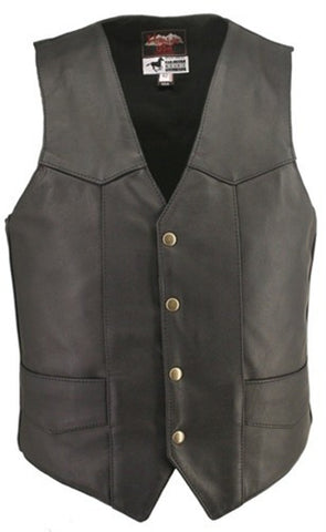 Men's Made in USA Horsehide Leather Classic Motorcycle Vest Internal Pistol Pockets