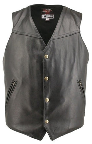 Men's Made in USA Horsehide Leather Classic Motorcycle Vest Solid Back Pistol Pockets