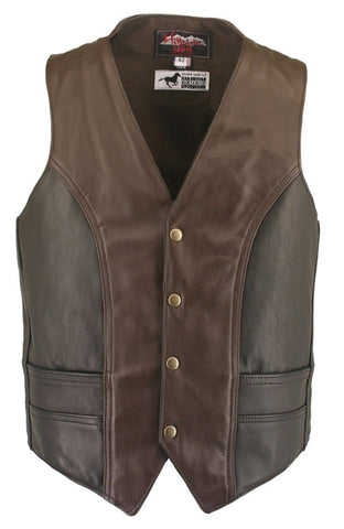 Men's Made in USA Horsehide Leather Motorcycle Vest Black and Brown
