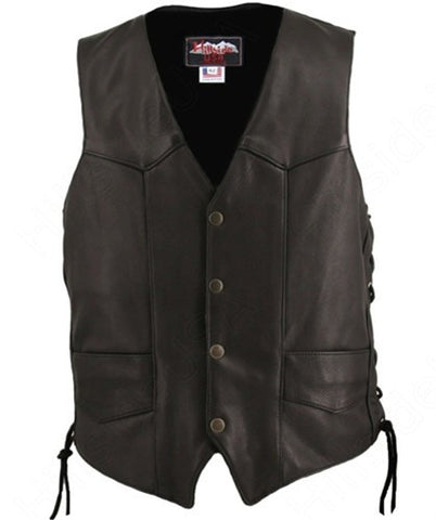Men's Made in USA Black Naked Leather Basic Motorcycle Vest Side Laces Gun Pockets