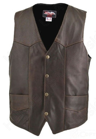 Men's Made in USA Brown Distressed Naked Leather Basic Motorcycle Vest Gun Pockets