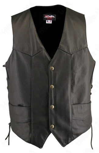 Mens Made in USA Black Naked Leather Motorcycle Vest Solid Back Gun Concealment Pockets