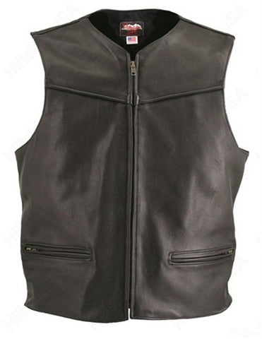 Men's Made in USA Black Naked Leather Racer Vest Solid Back Leather Lined Gun Pockets Zip Front