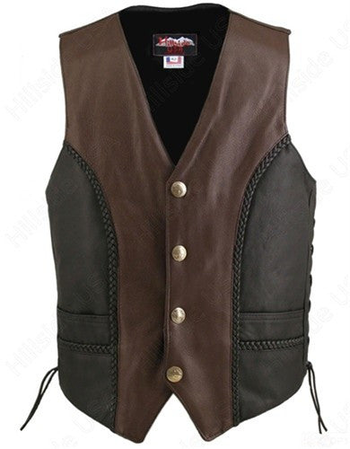 Made in USA Black and Brown Two Tone Naked Leather Buffalo Nickel Biker Vest Braid Trim Gun Pockets