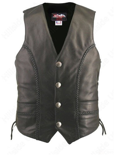 Men's Made in USA Black Naked Leather Buffalo Nickel Motorcycle Vest Braid Trim Gun Pockets