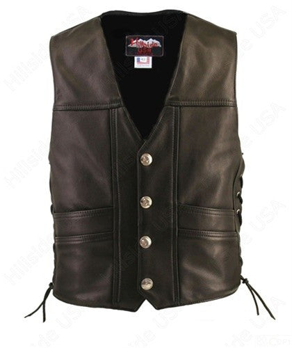 Men's Made in USA Black Naked Leather Buffalo Nickel Cruising Biker Vest Gun Concealment Pockets