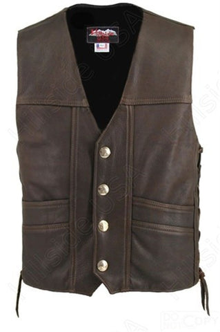 Men's Made in USA Brown Naked Leather Buffalo Nickel Motorcycle Vest