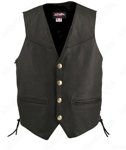 Made in USA Black Leather Buffalo Nickel Motorcycle Vest Solid Back