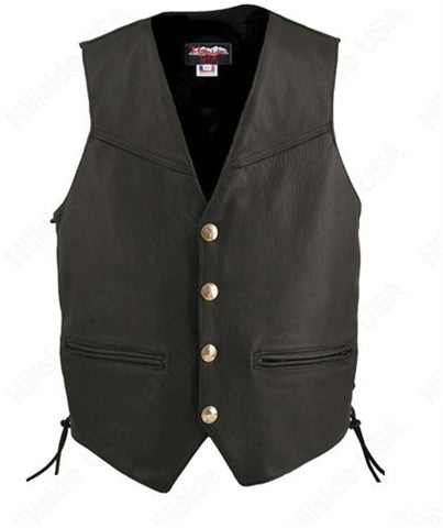 Made in USA Black Leather Motorcycle Vest Buffalo Nickel Snaps Solid Back
