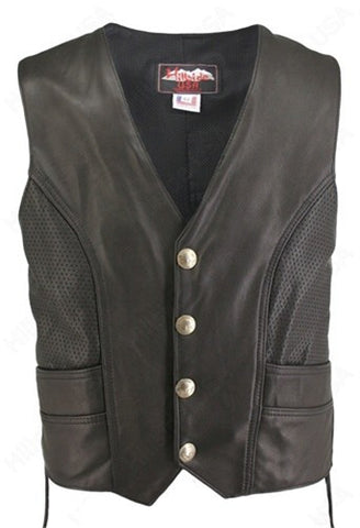 Made in USA Black Perforated Naked Leather Buffalo Nickel Motorcycle Vest with Gun Pockets