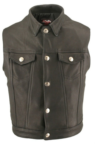 Made in USA Leather Denim Style Motorcycle Vest Buffalo Head Snaps Gun Concealment Pockets
