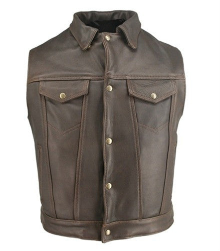 Men's Made in USA Brown Distressed Leather Denim Style Motorcycle Vest Gun Pockets